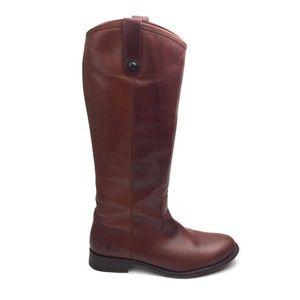 Frye Melissa Button Lug Tall Cognac Boots Size 8